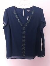 Plus Size ROAMANS sequin EMBELLISHED romantic chiffon Lined Blouse Top 18W