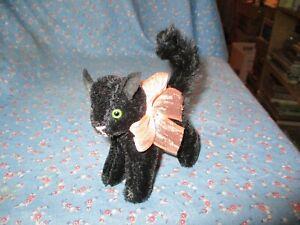 Hermann Black Cat Peach Bow  5 Inch High Halloween