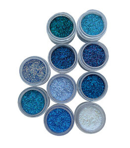 Disco Cake™ BLUE SET 10 COLORS (5 grams each) dust fondant glitter decorating