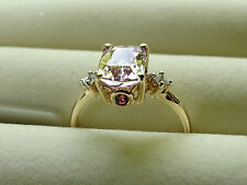 Rare Mawi Kunzite Red Spinel & White Zircon 10K Yellow Gold Ring Size P-Q/8