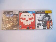 3 PLAYSTATION 3 GAMES - CALL OF DUTY 3, RESISTANCE 3, BATTLEFIELD 2 - TUB A