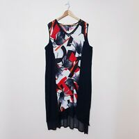Taking Shape TS Womens Plus Size 20 Red Black Abstract Floral Tunic Dress