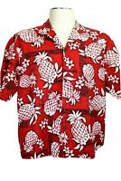 Royal Creations Men's XL Red Black White Hawaiian Shirt Pineapples Turtles, flaw