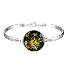 zhostovo yellow roses flowers Art Cabochon silver Glass bracelet jewelry