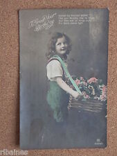 R&L Postcard: To Greet Your Birthday, Pretty Girl with Basket of Flowers, 1912
