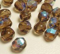 30 Preciosa Glasschliffperlen 6mm Feuerpoliert Kristall Rund Braun AB BEST X281