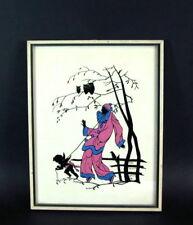Hinterglasmalerei - wie Scherenschnitt - Pierrot - signiert F. Salrein dat. 1935
