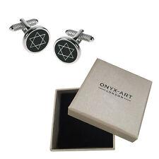 Mens Black Star Of David Cufflinks & Gift Box - Jewish Present By Onyx Art