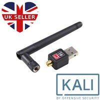 USB WiFi Adapter Kali Linux / Aircrack Compatible Hack WiFi Network 2dBi Antenna