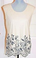 Tank Top Ivory mesh Black embroidered M sleeveless Scoop neck Poly blend NWOT