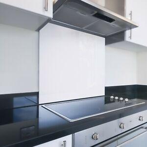 Toughened Printed Kitchen Glass Splashback - Bespoke Sizes - White