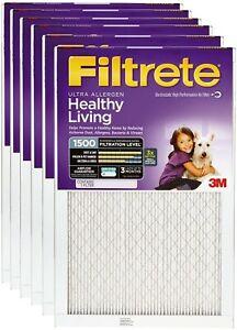 6/Pk of 3M Ultra AIR FILTER 20x25x1 MPR 1500 for Pet Odors Pollen Bacteria Dust