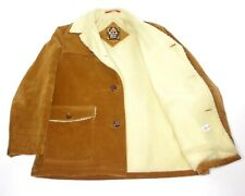 H.I.S Sportswear VTG Tan Corduroy Coat Jacket Sherpa Lined Leather Buttons Large