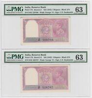 India 2 Rupees 1943 P17b PMG 36 UNC King George Pair Consecutive Serial Rare