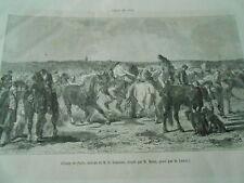 Gravure 1861 - Champ de Foire chevaux vente