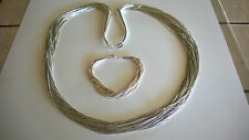 "Sterling Silver Carolyn Pollack 50 Strand Liquid Silver 30""Necklace BRACELET B50"