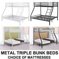 Modern New Strong Triple Twin Bunk Bed Children Metal 3 Sleeper Kids Frame