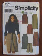 SIMPLICITY PATTERN - 9823 LADIES SKIRT FRONT PLEATS A-LINE FRINGE 8-14 UNCUT