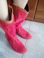 Stivali in camoscio colore rosa fragola con inserti pelle colore cuoio n.38