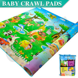 2x1.8m Baby Kids Floor Play Mat Crawling Double Sides Rug Picnic Soft Foldable