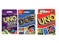 Mattel UNO Card Game Bundle Flip, Dos & Uno Origina Multi color, Family Fun Game