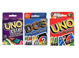 Mattel UNO Card Game Bundle Flip, Dos & Uno Origina Multi color, Family Fun Game