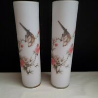 "VINTAGE! NORLEANS 10"" FROSTED WHITE PAIR OF VASES FLOWERS/BIRDS FREE SHIP!"