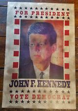 JOHN F KENNEDY FOR PRESIDENT VOTE DEMOCRAT JFK PAPER PATRIOTIC CAMPAIGN POSTER