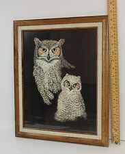 Owl & Owlet Print By Marjorie Brice Professionally Framed w/Artist Info Vintage