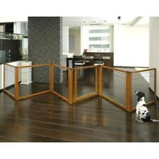 Richell Pet Gate Freestanding Room Divider 6 Lock Door Panels Hardwood Dog Pen