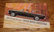 1962 Chevrolet Corvair Monza Convertible Foldout Sales Brochure 62 Chevy