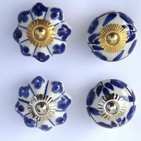Blue White Ceramic Porcelain Door Knob Handle Drawer cupboard pull -Choice of 4