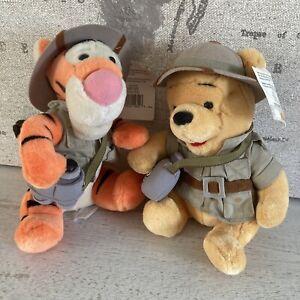 "Animal Kingdom Safari Pooh and Tigger 8"" Plush Winnie The Pooh Toys Walt Disney"
