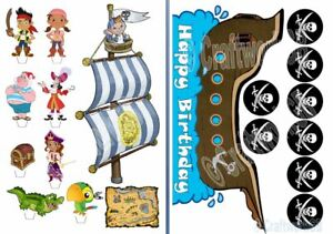 Pirate Ship and Sail with characters Edible Wafer Cake Decoration Scene