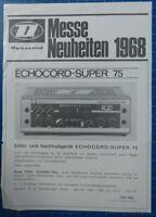 Dynacord Messe Neuheiten 1968 Echocord Super 75 Werbung Faltblatt H-13400