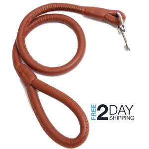 Genuine Leather Soft Rolled Padded Dog Leash Lead for Big Dogs/Pets Brown