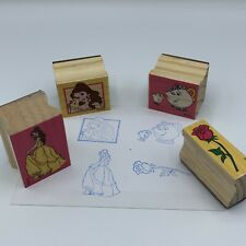 Disney Beauty and the Beast 4 Stamp Wooden Rubber Lot Rose Belle Chip Mrs Potts