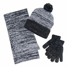 Girls 4-16 Berkshire 3-pc. Marled Infinity Scarf, Hat & Gloves Set Black & White