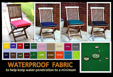 2 SMALL CHAIR CUSHIONS SEAT PADS WATERPROOF FABRIC PIPED SEAMS GARDEN FURNITURE