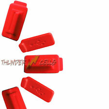 5x Red Anti-Dust USB Silicone Rubber Plug Cover Stopper for Computer Laptop PC