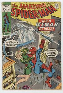 Amazing Spider-Man 92 Marvel 1971 VG Gwen Stacy Iceman Stan Lee John Romita