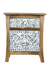Handmade Antique Blue Bone Inlay Floral Two Drawer Bedside Table Nightstand