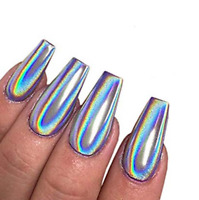 Holographic Silver Nail Glitter Powder  Mirror Effect Chrome Pigment Tips