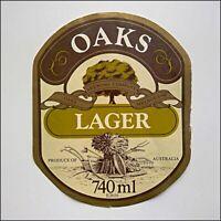 Oaks Brewing Company Lager Melbourne Beer Label (AP13)