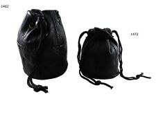 Leather Black Leather Drawstring Wrist Taxi Pouch Coin Purse Change Money Bag