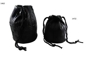 Leather Drawstring Wrist Taxi Pouch Coin Purse Change Money Bag Wallet Note Case