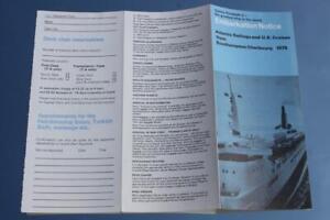 CUNARD LINE RMS QUEEN ELIZABETH 2 QE2 EMBARKATION NOTICE 1979 ATLANTIC SAILINGS