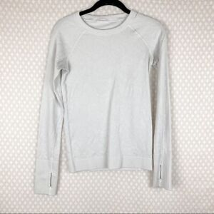 Lululemon Women Top Sz 4 White Floral Embroidered Rest Less Long Sleeve Workout