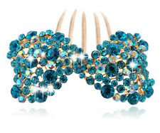 Luxury Sparkle Turquoise Blue Bow Knot Wedding Hair Accessories Comb HA166