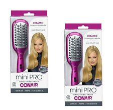 2 Pack Conair miniPRO Heat Iron Smoothing Hair Brush Compact Styling BC11RW NEW